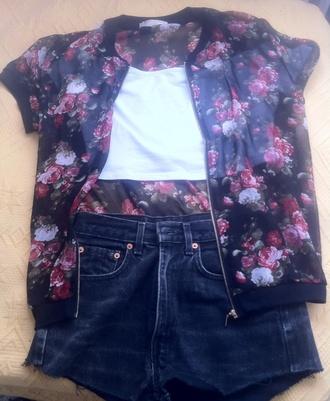 blouse floral kimono jacket zip flowers