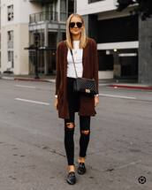 sweater,cardigan,long line,ripped jeans,loafers,skinny jeans,long sweater,white tee,bag,black bag,handbag,black ripped jeans,brown sweater,white top,gold necklace,black loafers