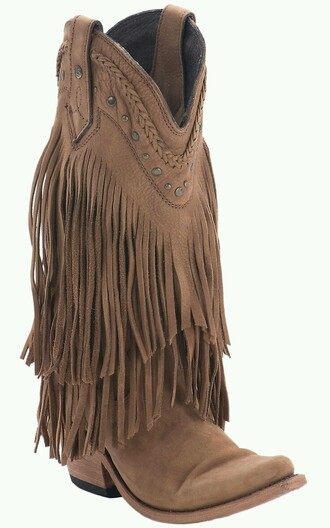 shoes boots fringe tan fringe boots