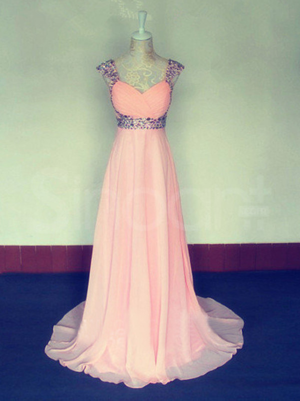 dress fit for prom and wedding party neckline:  straps waistline:  natural sweepm train