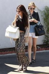 bag,selena gomez white big handbag,coat,skirt,sunglasses,pants,shirt