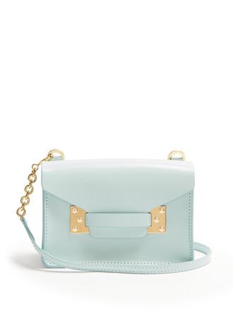 cross bag leather light blue light blue