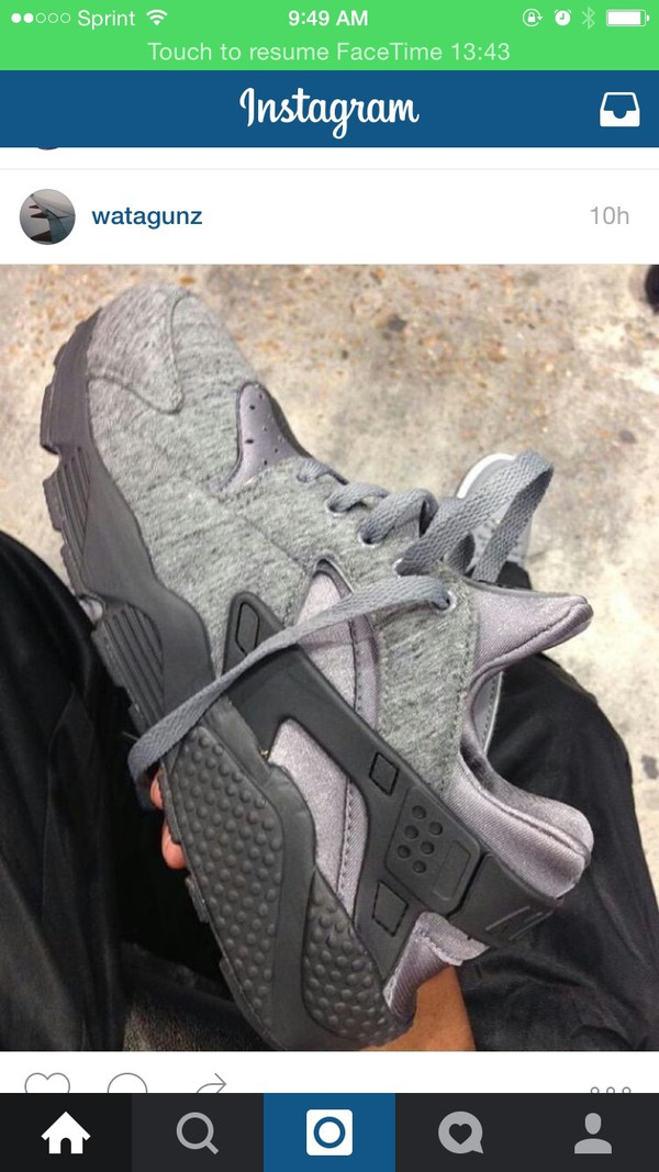 shoes grey marl grey nike sneakers style stylish huarache nike