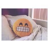 bag,creative pillows designs,emoji print,t-shirt,pillow,home accessory,smile,yellow