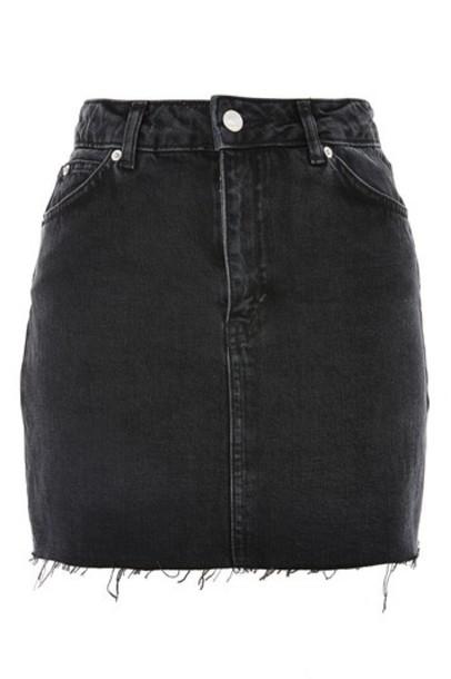 TopShop MOTO Denim Mini Skirt - Washed Black