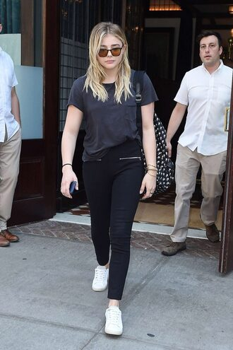 shoes sneakers sunglasses chloe grace moretz black jeans white sneakers grey top