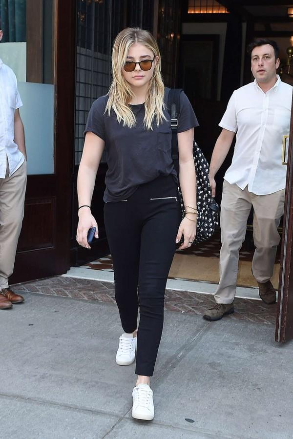 shoes sneakers sunglasses chloe grace moretz black jeans white sneakers grey top