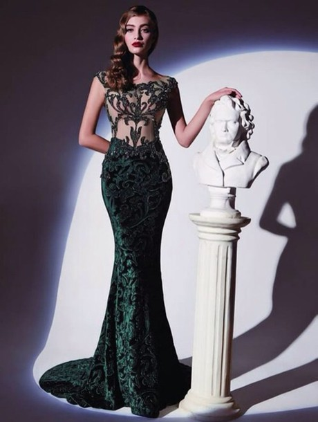 Dress evening dress emerald green maxi dress prom night party - Wheretoget