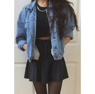 jacket grunge on point on point clothing denim jacket chain black crop top black skirt skirt tights tumblr outfit