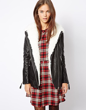 River Island | River Island Borg Lined Long Biker Jacket at ASOS