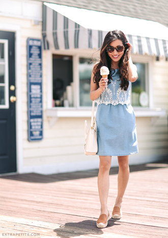 extra petite blogger dress sunglasses blue dress two piece dress set white bag lace top flats summer outfits date outfit