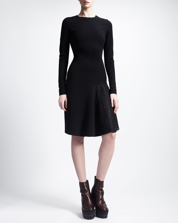 dress black knee length dress black dress long-sleeve lace-godet jersey dress stella mccartney