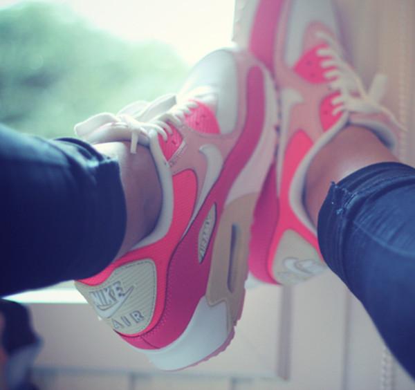 shoes nike nike sneakers nike shoes air max nike air shoes pink white nike air max 90 sneakers nice