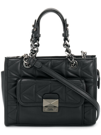 women quilted leather black bag