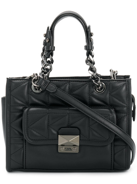karl lagerfeld women quilted leather black bag