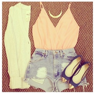sweater peach denim high waisted shorts cardigan tank top blouse pink shoes nude sexy v-neck t-shirt coat shirt top summer top coral shorts cut off shorts necklace silky roze. blue white gold too jeans crop tops live life laugh peace summer winter outfits beautiful v neck t-shirt