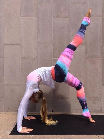 clothes style neon yoga pants yoga stripes comfy warm athletic skies
