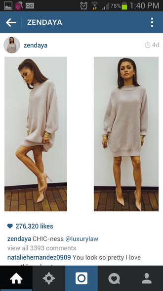 dress classy dress zendaya oversized dress zendaya cute dress and boots shoes sweater louboutin beige