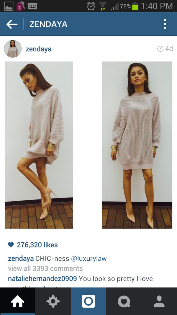 dress classy dress zendaya oversized dress shoes sweater sweater dress louboutin beige