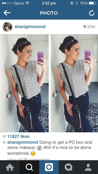 shirt black white stripes shanigrimmond stripes stiped top black and white