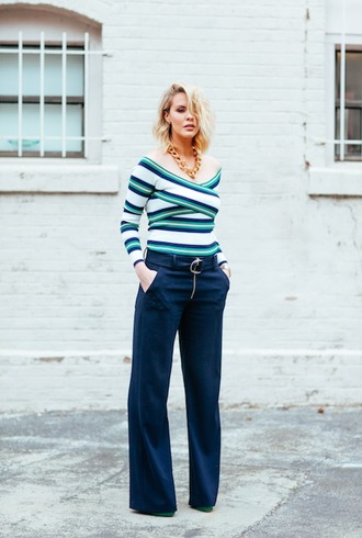 the courtney kerr blogger top pants shoes jewels striped off shoulder top wrap top stripes striped top blue pants navy wide-leg pants necklace chain necklace long sleeves spring outfits