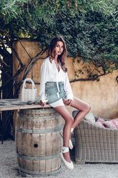 viva luxury,blogger,bag,shoes,skirt,jewels,top,espadrilles,white shirt,denim skirt