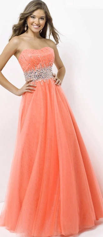 coral coral dress prom homecoming dress orange orange dress sparkle sparkles dress prom dress rhinestones dresses for prom