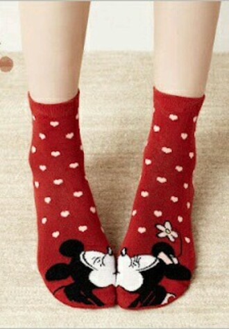 socks disney mickey mouse minnie mouse heart
