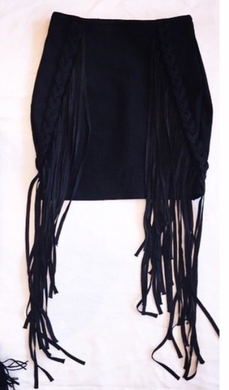skirt fringe black skirt black skirt mini skirt fringes