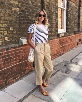 pants tumblr nude pants t-shirt stripes striped t-shirt shoes slide shoes bag sunglasses