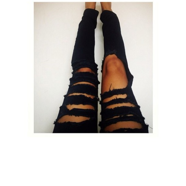 Jeans black skinny jeans ripped jeans frayed jeans diy - Wheretoget