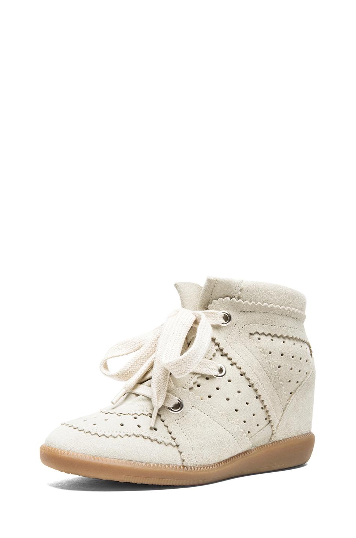 Isabel Marant|Bobby Calfskin Velvet Leather Sneakers in Chalk