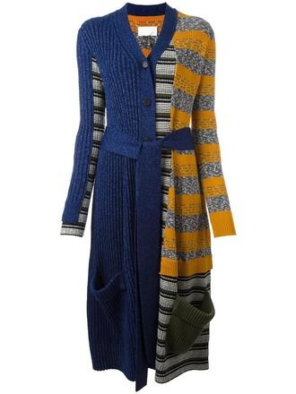 cardigan patchwork women cotton blue wool sweater