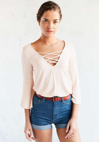 blouse nude nude top lace up