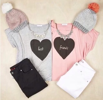 shirt grey pink heart best friends