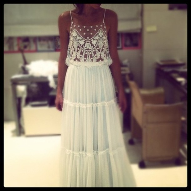 dress white beads white dress clothes sequins sequin dress beaded dress summer dress