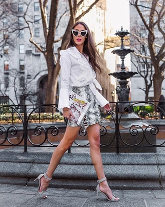 shoes skirt sunglasses heart sunglasses sandals sandal heels mini skirt snake print shirt white shirt spring outfits
