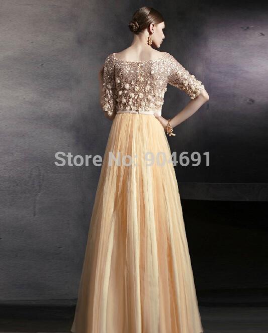 Aliexpress Com Buy Gold Tulle Evening Dresses Empire