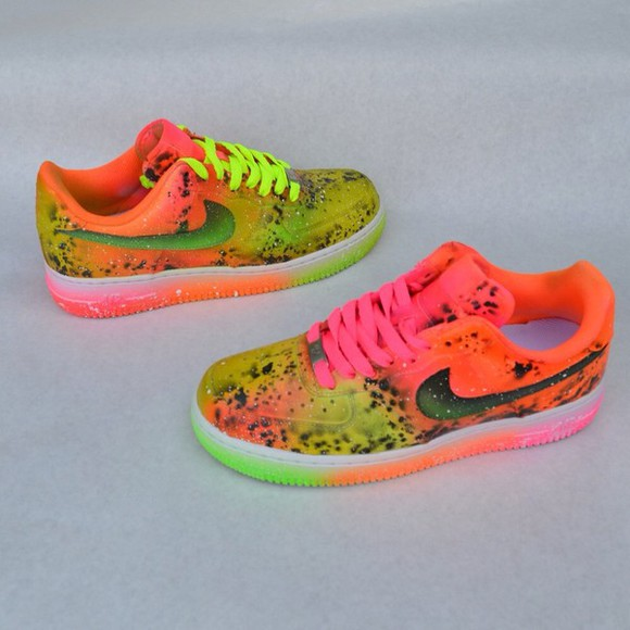 neon neon yellow shoes neon pink neon green nike custom nike air force one dope nike air force 1