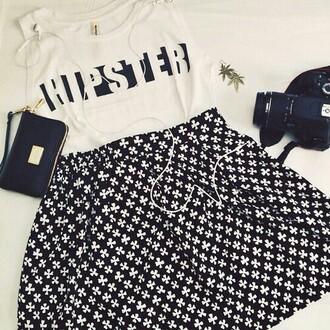 shirt trefle jupe skirt hipster pochette fleurs noir&blanc noir blanco