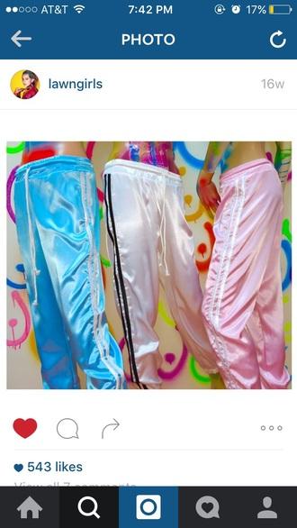 pants pastel blue pastel pink white
