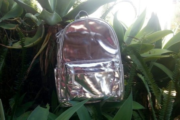 bag shiny bright iridescent lustrous pink silver mirror grey glint backpack holographic pale sac