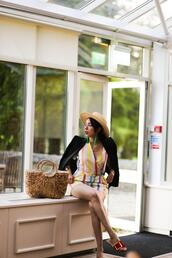 preppy fashionist,blogger,hat,jewels,romper,jacket,shoes,bag,straw bag,fall outfits,blazer