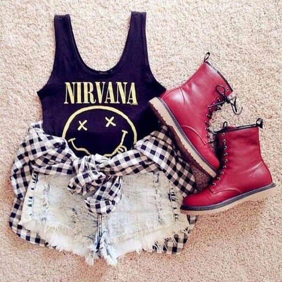 nirvana t-shirt yellow punk burgundy dc martens winter outfits fall outfits black and white girl rock girly nirvana t-shirt combat boots