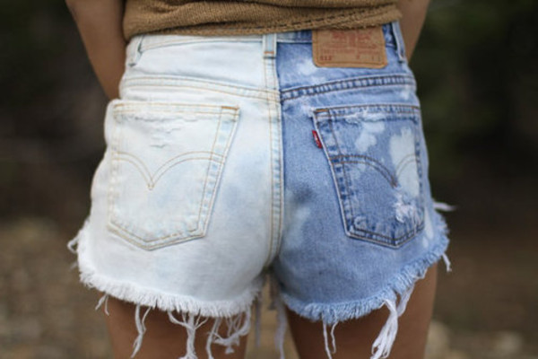 shorts denim frayed vintage two-tone