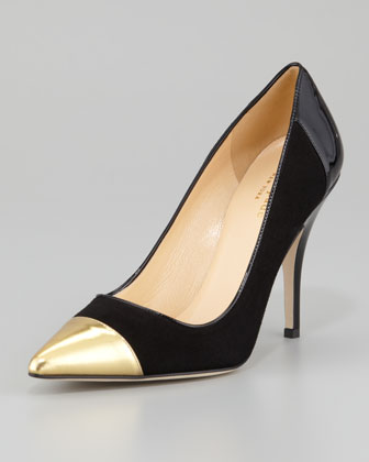 kate spade new york liberty cap-toe suede pump