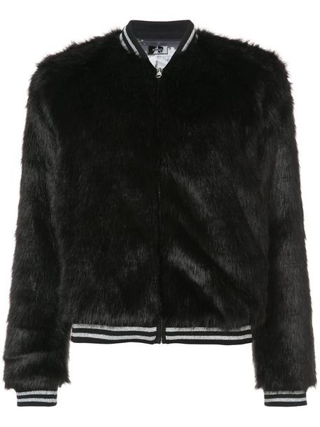 jacket bomber jacket fur faux fur women black
