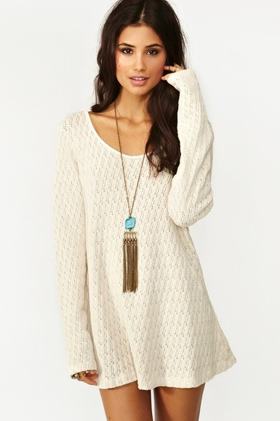 Dress: sweater, cardigan, long sleeves, beige, cream, tan, cute ...
