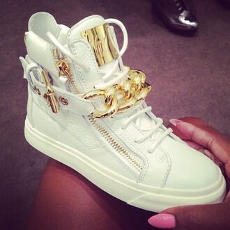 shoes white giuseppe zanotti sneakers high top sneakers gold chain gold white sneakers lady women white shoes gold plate american stylish brand shoes chain swag girl awesome style giuseppe zanotti shoes