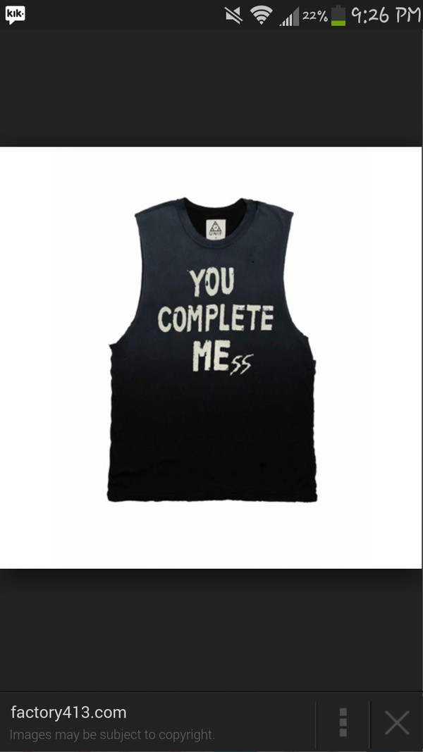 t-shirt shirt tank top you complete me you complete mess 5 seconds of summer black tumblr tumblr outfit 5 seconds of summer 5 seconds of summer luke hemmings